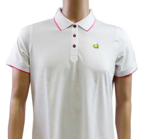 Masters Magnolia Lane Ladies White Performance Tech Golf Shirt with Pink Trim