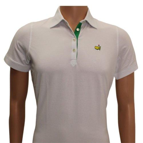 Masters Magnolia Lane White Golf Shirt with Green Trim - Cotton Blend