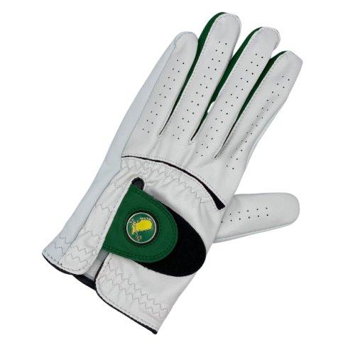 Masters Men's Cabretta White Leather Glove with Green Trim