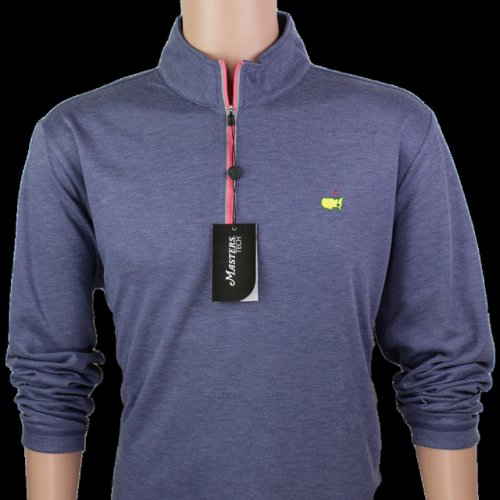 Masters Navy & Coral Performance Tech Quarter Zip Pullover