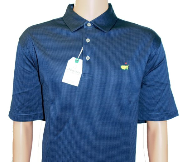 Masters Navy Houndstooth Pattern Cotton Golf Shirt