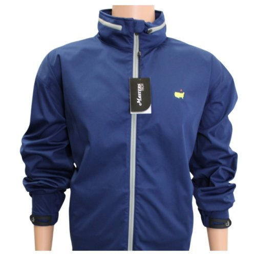 Masters Navy Performance Tech Full Zip Rain Jacket with Hood