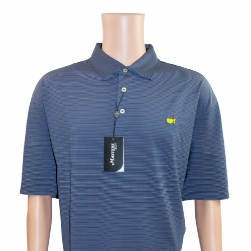 Masters Navy, Pink and Sky Blue Candy Striped Performance Tech Golf Shirt