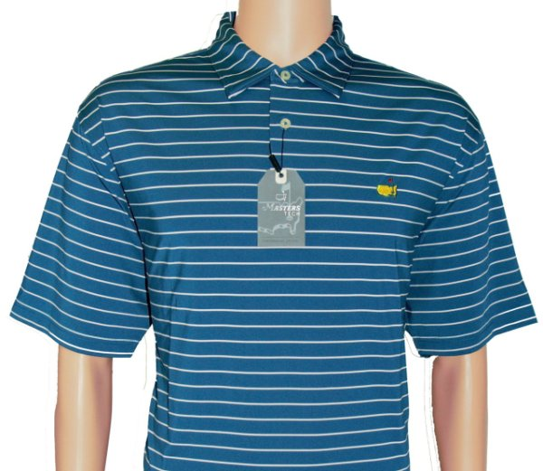 Masters Ocean Blue Performance Tech Shirt with White Stripes