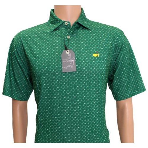Masters Performance Green Tech Shirt with Mini Flag Pattern