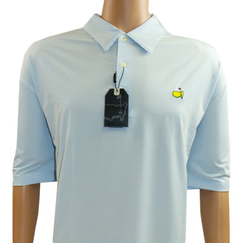 Masters Performance Tech Blue and White Striped Golf Shirt