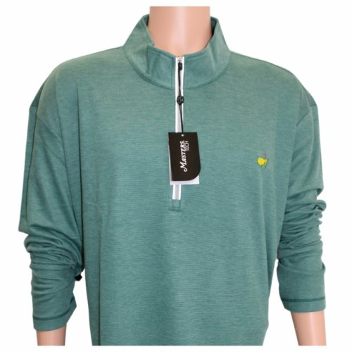 Masters Performance Tech Evergreen and Grey Micro Stripe 1/4 Zip Pullover