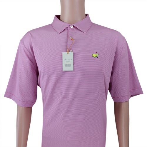 Masters Peter Millar Berry & White Thin Stripe Performance Tech Golf Shirt