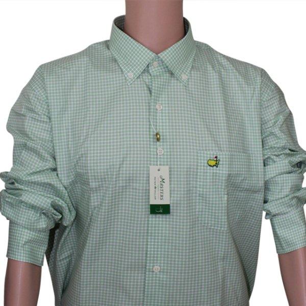 Masters Peter Millar Grass & White Checkered Dress Shirt