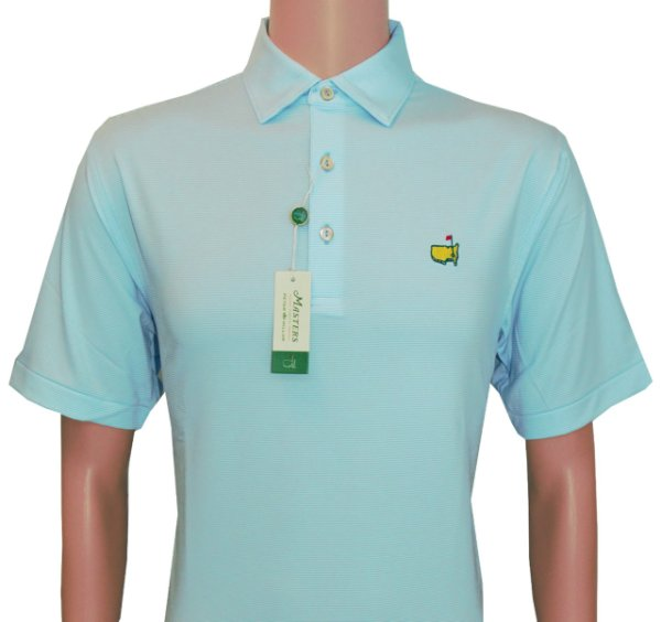 Masters Peter Millar Light Blue and White Thin Striped Performance Tech Golf Shirt