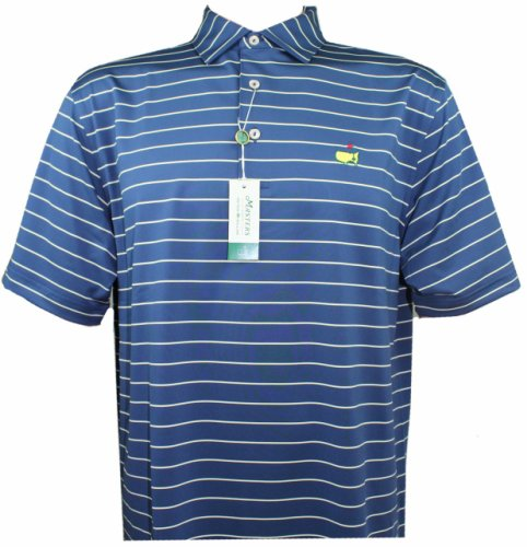 Masters Peter Millar Navy & Gold Striped Performance Golf Shirt