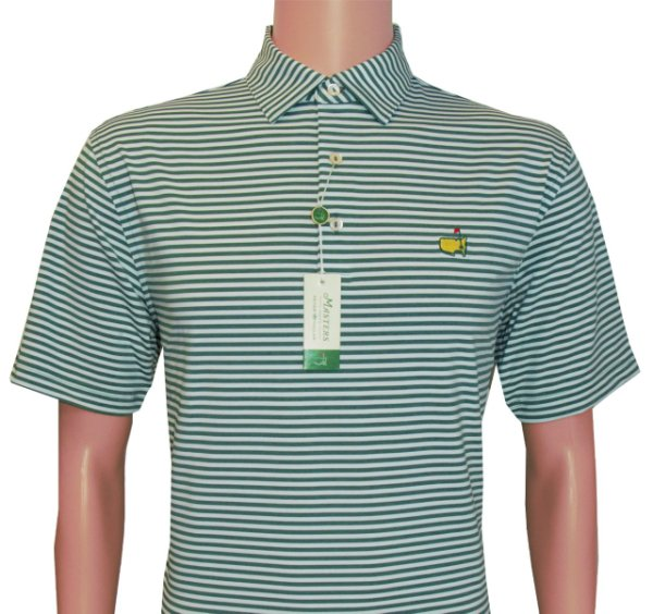 Masters Peter Millar Pine and White Striped Tech Golf Shirt