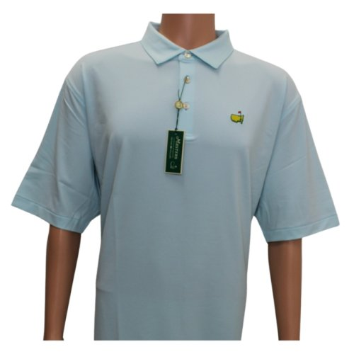 Masters Peter Millar Turquoise and White Thin Striped Tech Performance Shirt