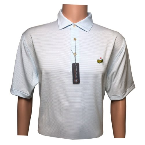 Masters Peter Millar White and Sky Blue Striped Tech Golf Shirt