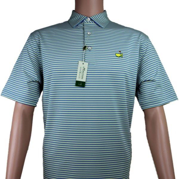 Masters Peter Millar Yellow & Blue Striped Performance Tech Golf Shirt