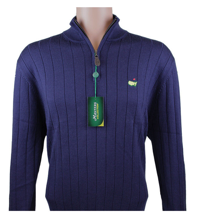 Masters Ribbed 1/4 Zip Pullover- Navy