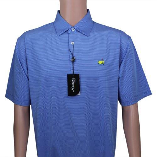 Masters Royal Blue & Thin White Striped Performance Tech Golf Shirt