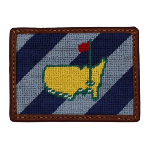 Masters Smathers & Branson Needlepoint Card Holder - Blue with Light Blue Diagonal Stripe
