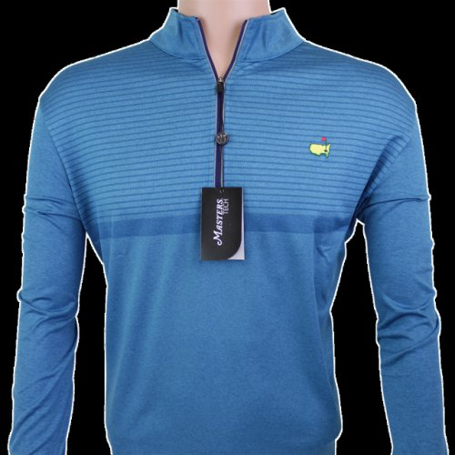Masters Teal Striped Performance Tech Quarter Zip Pullover