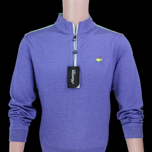 Masters Tech Heathered Navy and Lime Quarter Zip Pullover