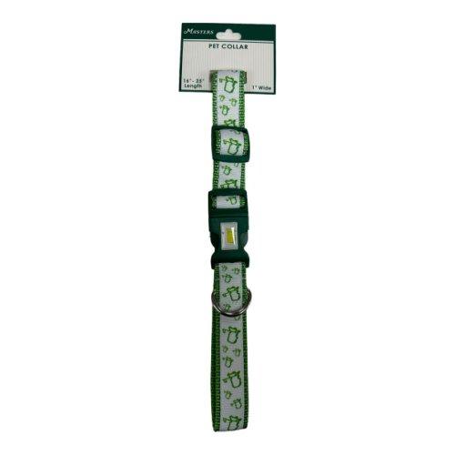 Masters White Logo Dog Collar - Green Trim on Collar
