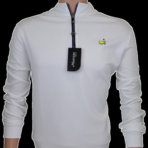 Masters White & Navy Performance Tech Quarter Zip Pullover