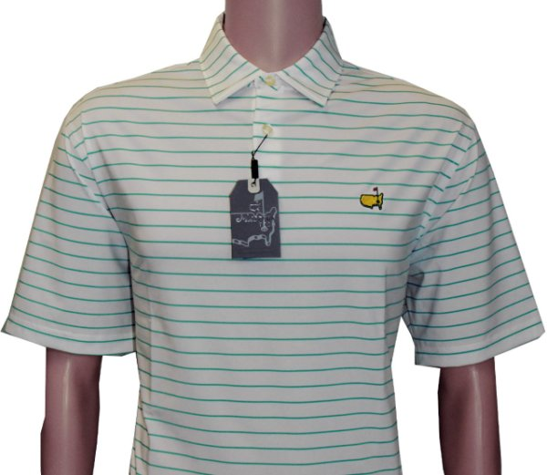 Masters White Tech Shirt with Cabana Green Stripe