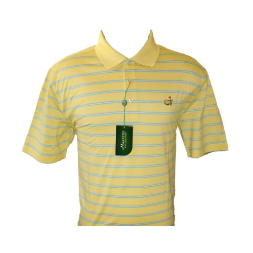 Masters Yellow & Light Blue Striped Jersey Golf Shirt