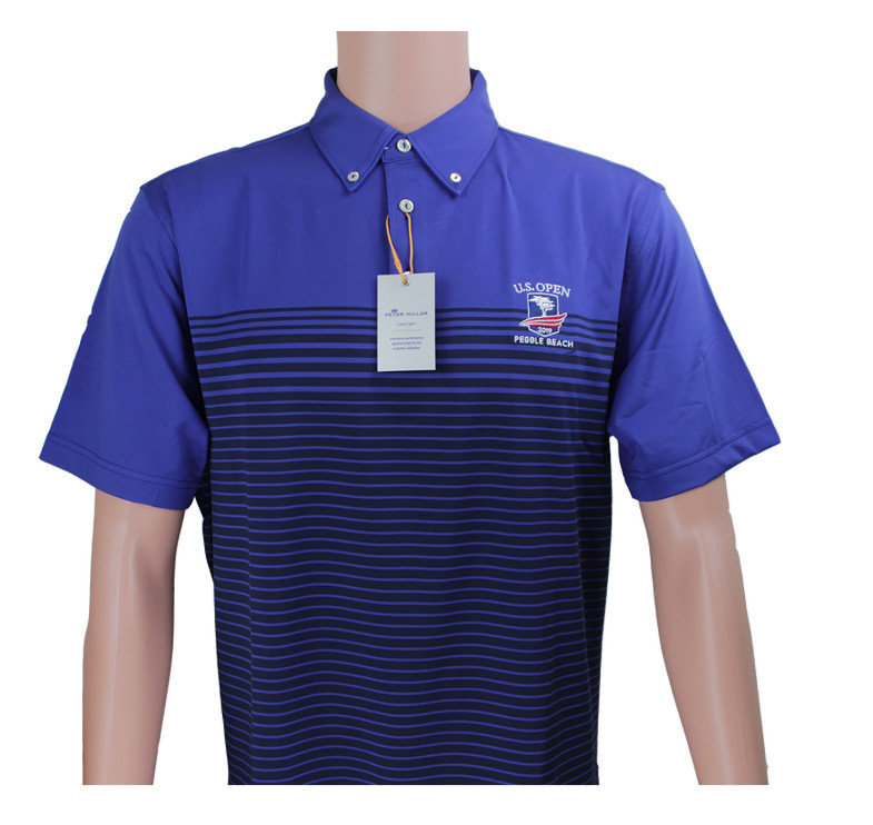 Peter Millar Blue and Navy 2019 US Open Tech Polo