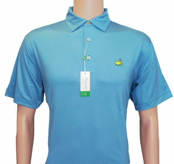 Peter Millar Masters Blue Wave Pattern Performance Tech Golf Shirt
