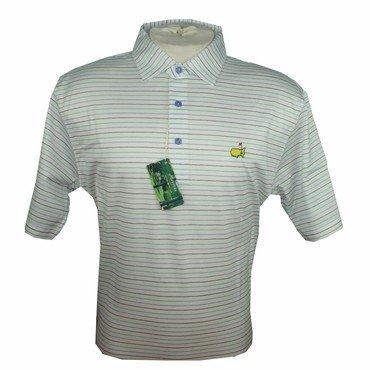 Peter Millar Masters Golf Shirt - White Multi Stripes