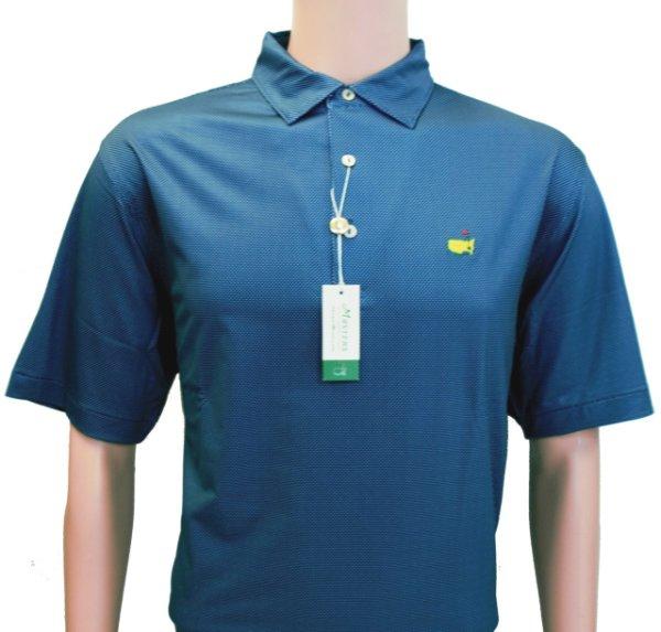 Peter Millar Masters Navy and Blue Dot Pattern Tech Performance Golf Shirt