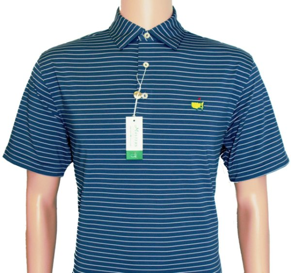 Peter Millar Masters Navy Tech Golf Shirt with Pink Stripes