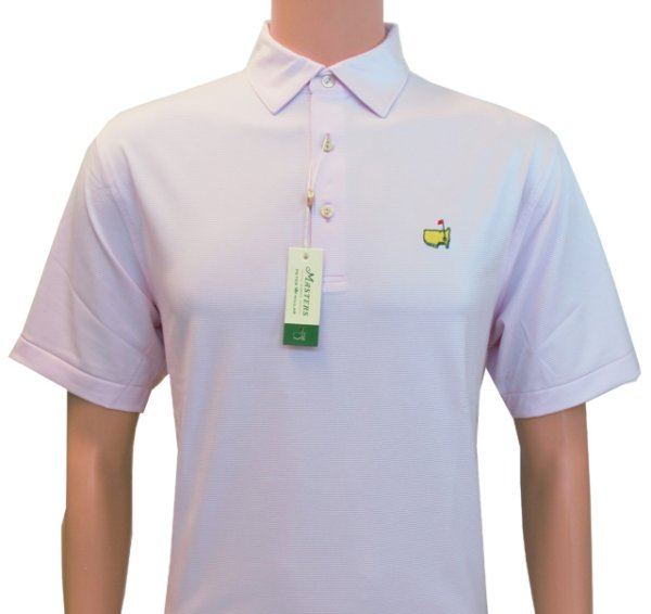 Peter Millar Masters Pink and White Thin Striped Golf Tech Shirt