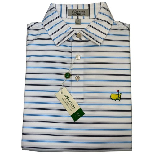 Peter Millar Masters White Performance Shirt with Light and Navy Stripes
