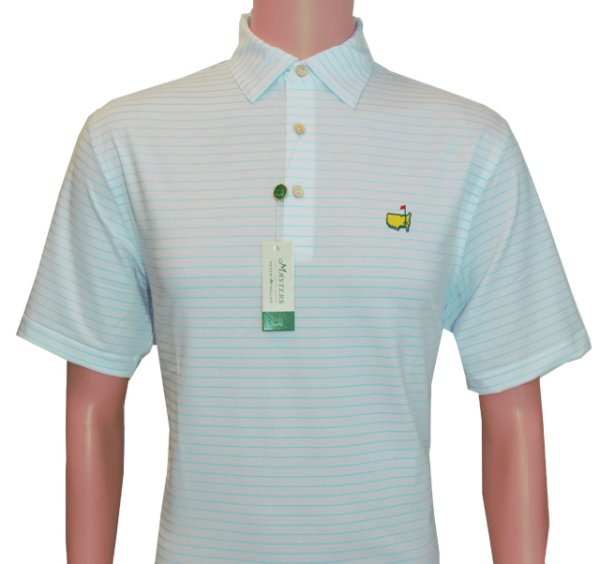 Peter Millar Masters White Performance Tech Shirt with Light Blue Stripes