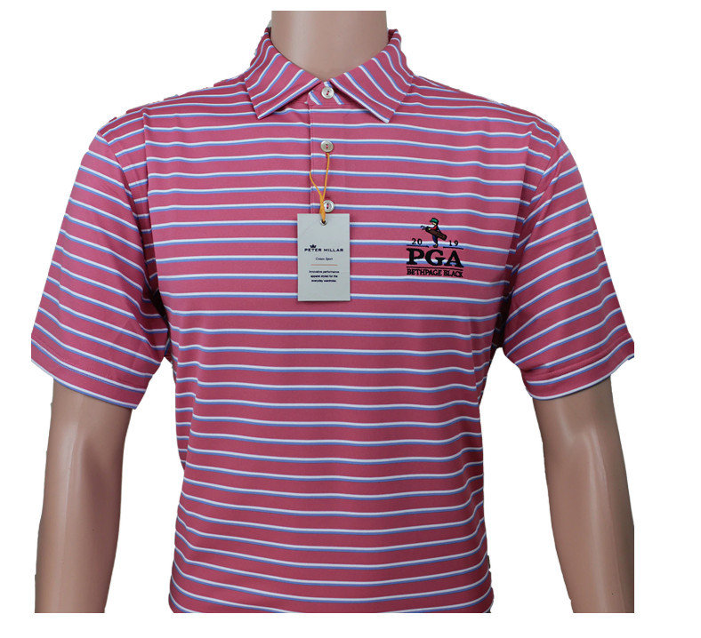 Peter Millar PGA Championship 2019 Red/Navy Striped Polo