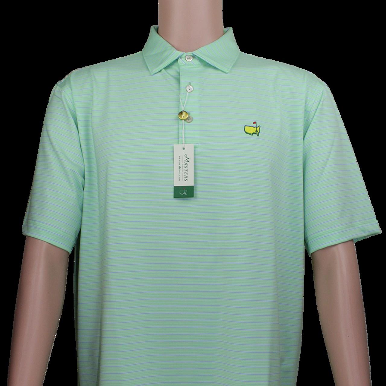 84460228 Masters Mint & Blue Striped Peter Millar Performance Tech Golf Shirt