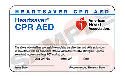 Heartsaver CPR and AED (September 1 at 6:00 pm)