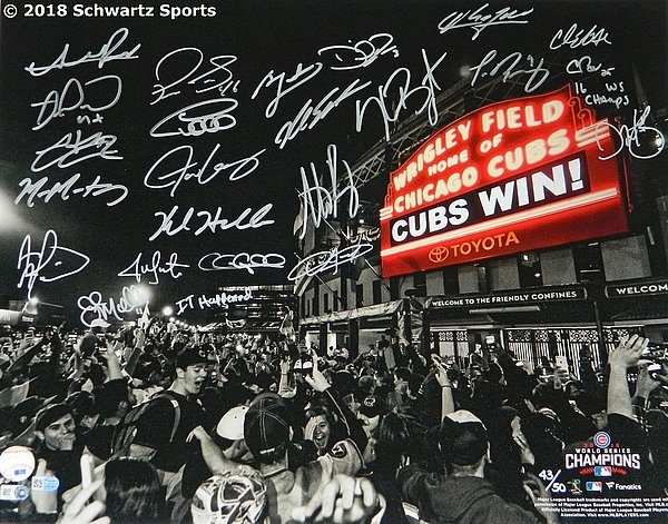 2016 Chicago Cubs Team Signed Chicago Cubs 2016 World Series Wrigley Field Marquee 16x20 Photo (23 Sigs)