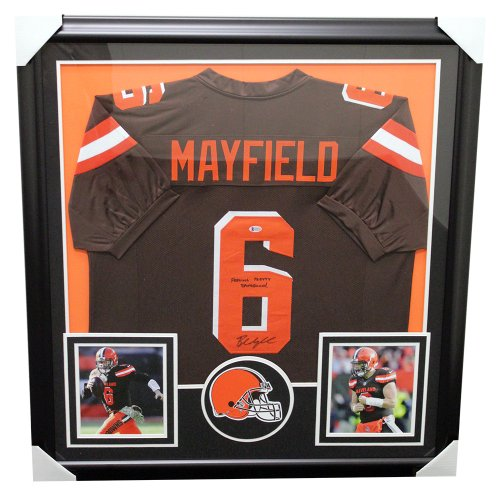 Baker Mayfield Cleveland Browns Framed Autographed Home Jersey W/ Feeling Pretty Dangerous - Beckett Certified Authentic