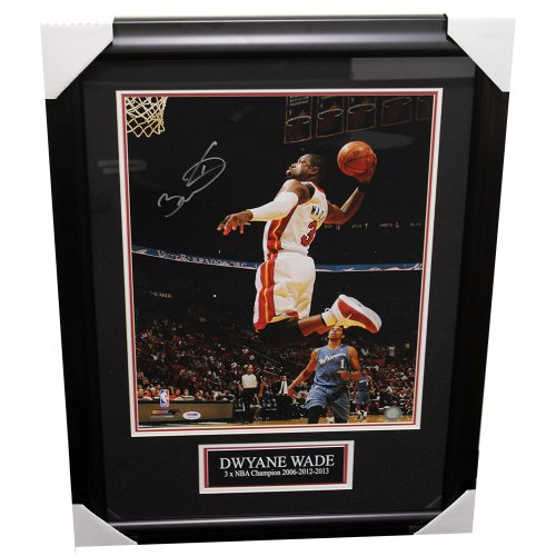 Dwyane Wade Miami Heat Autographed 16x20 Framed Photo w/ Nameplate - PSA/DNA Authentic