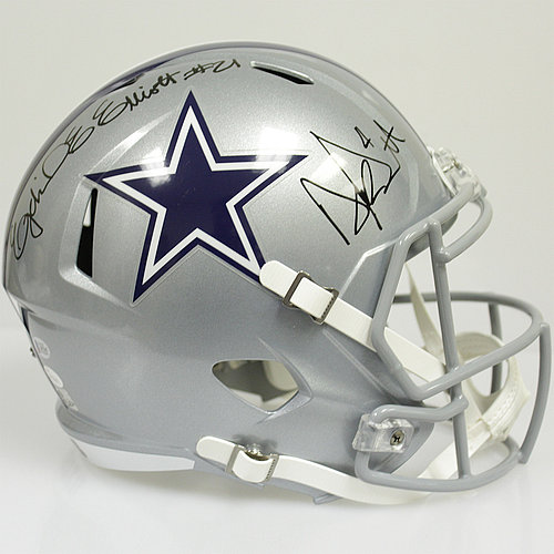 Ezekiel Elliott and Dak Prescott Autographed Dallas Cowboys Riddell Full Size Speed Replica Helmet - JSA & Beckett Authentic