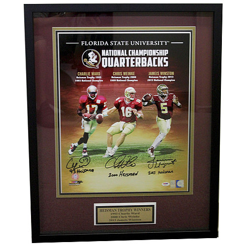 Florida State Seminoles 3 Heisman Autographed Shadow Box with Nameplate - PSA/DNA Certified Authentic