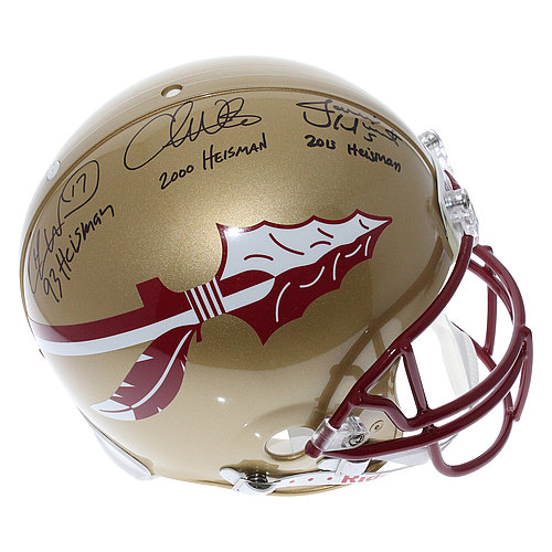 Florida State Seminoles Heisman Trophy Winners Autographed Florida State Seminoles Full Size Authentic Proline Helmet - PSA/DNA Full Letter - Jameis Winston, Chris Weinke, Charlie Ward Signatures
