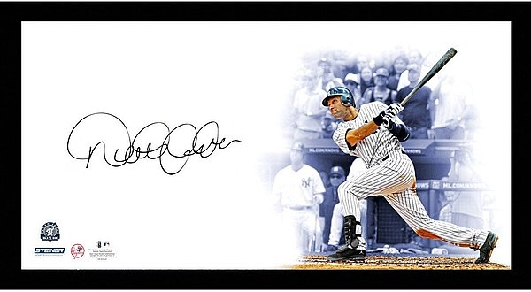 Framed 32x16 Derek Jeter New York Yankees Autographed Batting 'Big Sig' Photo(MLB Authenticated)