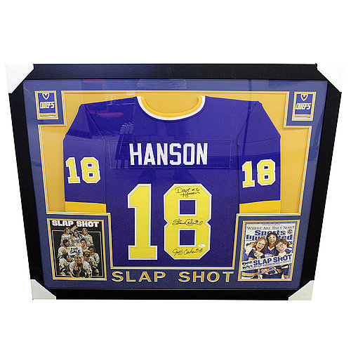 Hanson Brothers Multi Signed Framed Jersey w/ Photos Slap Shot - JSA Certified Authentic
