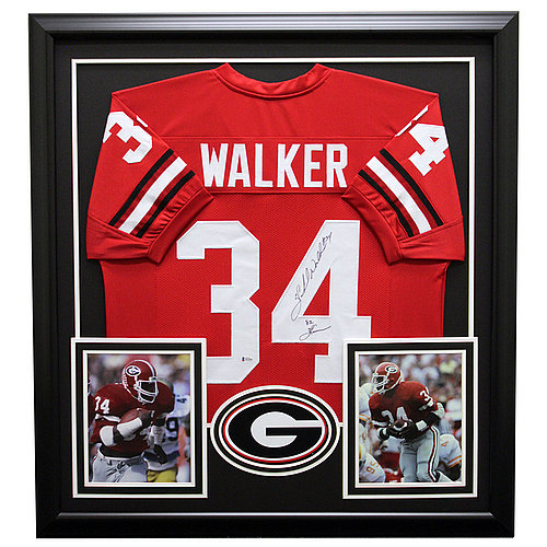 Herschel Walker Autographed Georgia Bulldogs Framed Red Custom Jersey - Beckett Certified Authentic