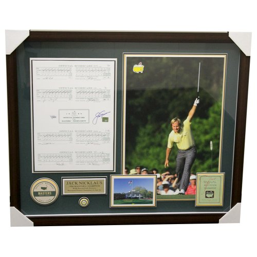 Jack Nicklaus Framed Autographed 1986 Masters Scorecard Horizontal Shadowbox - Golden Bear Certified Authentic