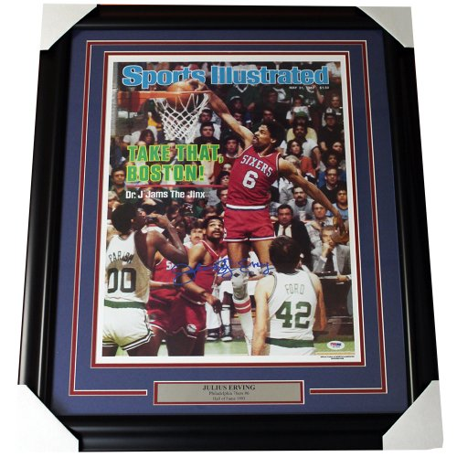 Julius Erving Philadelphia 76ers Framed Autographed 16x20 Sports Illustrated Cover Print - PSA/DNA Certified Authentic